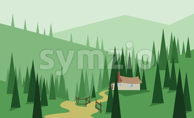 Abstract landscape design with green trees, hills and fog, house with wooden fence, flat style. Digital vector image. Stock Vector