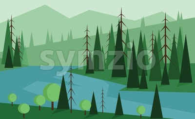 Abstract landscape design with green trees, hills and fog, blue river, flat style. Digital vector image. Stock Vector