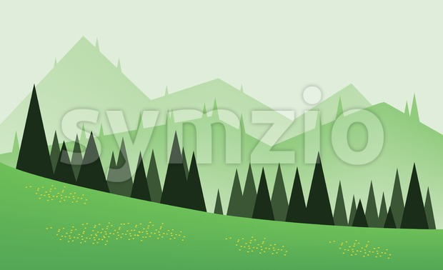 Abstract landscape design with green trees, hills and fog, yellow flowers on fields, flat style. Digital vector image. Stock Vector