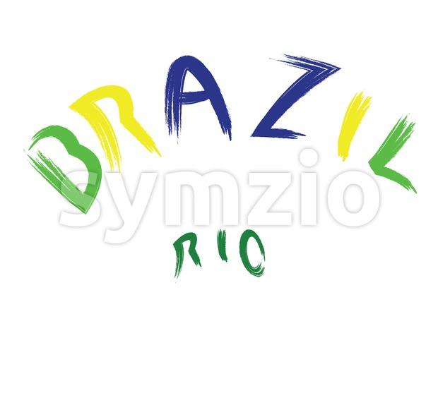 Brazil rio logo, colored, hand drawn text on white backdrop. Digital vector image Stock Vector