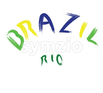 Brazil rio logo, colored, hand drawn text on white backdrop. Digital vector image Stock Vector