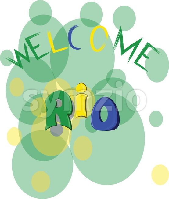 Welcome rio, colored hand drawn text on white backdrop. Digital vector image Stock Vector