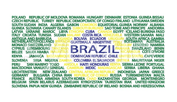 List of country names in the order of flag of Brazil. Digital vector image Stock Vector