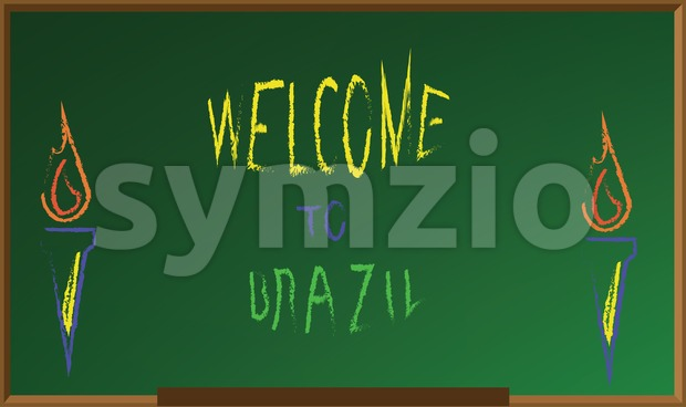 Welcome to brazil, colored hand drawn text witch chalk on green board, torch icons . Digital vector image