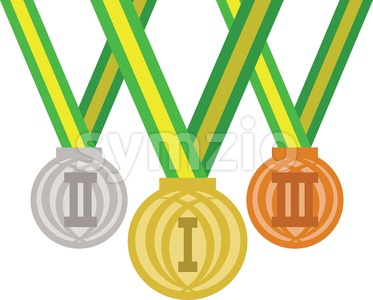 Colored medals for champions. Digital vector image Stock Vector