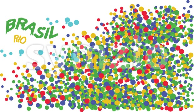 Brasil, Rio logo with colored circles. Digital vector image. Stock Vector