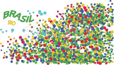 Brasil, Rio logo with colored circles. Digital vector image. Stock Vector