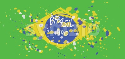 Brasil, Rio logo with national flag colors, hand drawn style. Digital vector image. Stock Vector