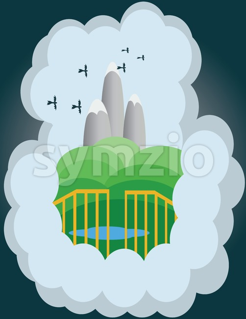 Abstract cloud illustration with silver mountains, green hills and birds flying. Digital vector image