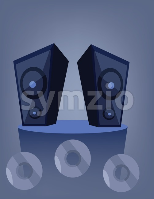 Two blue music speakers on a deck over a blue background with dvd and cd disks. Digital vector image.