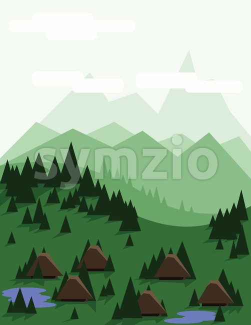 Abstract landscape with pine trees, brown houses, blue lakes, green hills and mountains, over a light green background with white ...
