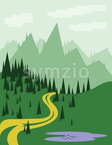 Abstract landscape with pine trees, an yellow curved road, purple lake, green hills and mountains, over a light green background with white clouds. Stock Vector