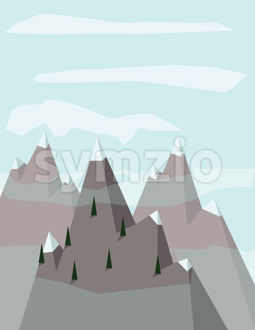 Abstract landscape with pine trees on silver mountains with snow on top, over a light blue background with white clouds. ...