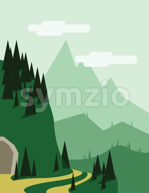 Abstract landscape with pine trees, an yellow curved road, a tunnel entry, green hills and mountains, over a light green background with white clouds. Stock Vector