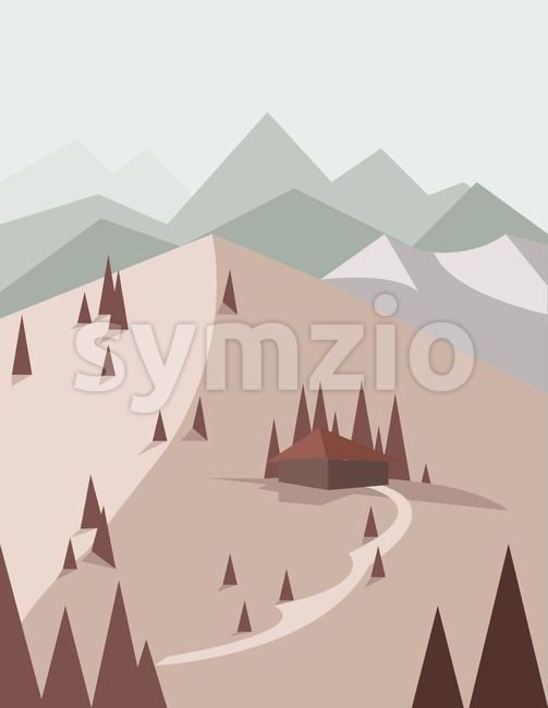 Abstract landscape in red style with pine trees, a house with a road, green hills and mountains, over a light ...