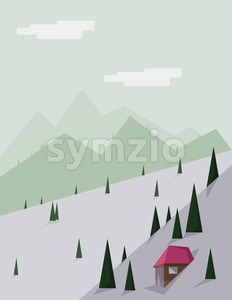 Abstract landscape with pine trees, a brown house with red roof, green hills and mountains, over a light green background with white clouds. Digital Stock Vector