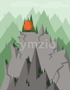 Abstract landscape with pine trees, an orange house on top of silver rocks and mountains, over a light background with clouds. Digital vector image. Stock Vector