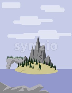 Abstract landscape with an yellow island on purple waters with pine trees, hills and mountains, over a light purple background with white clouds. Stock Vector