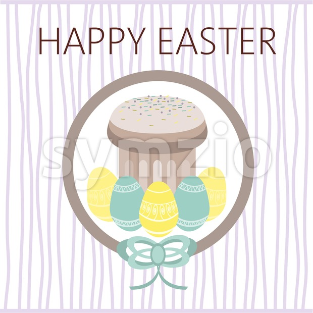 Happy Easter Card. Easter eggs. Plain Colored Easter Eggs. Digital background vector illustration. Stock Vector