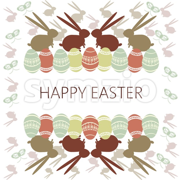 Happy Easter Card. Easter eggs and bunnies. Plain Colored Easter Eggs. Digital background vector illustration. Stock Vector