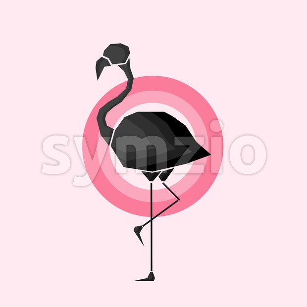 Geometric black flamingo in outlines in pink circles over a light pink background. Digital vector image. Stock Vector