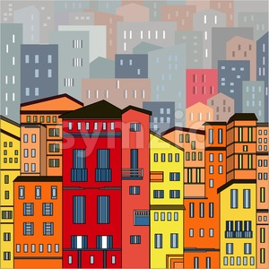Abstract colored city view in outlines with many houses and buildings as a single piece. Cartoon style. Digital vector image. Stock Vector