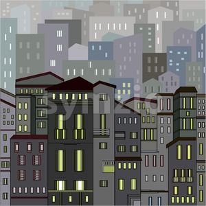 Abstract gray city view in outlines with many houses and buildings as a single piece at night with lights. Cartoon style. Digital vector image. Stock Vector