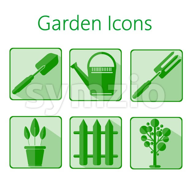 Green gardening icons set over a white background, digital vector image Stock Vector