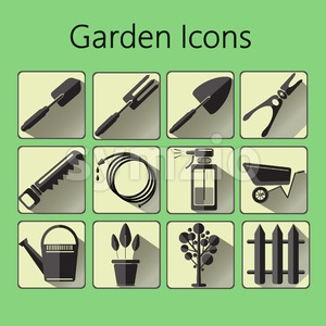 Black gardening icons set over a green background, digital vector image Stock Vector
