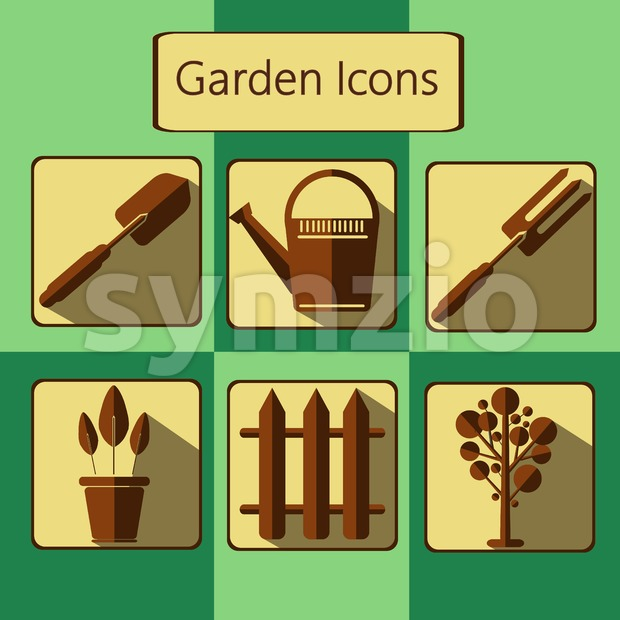 Brown gardening icons set over a green background, digital vector image Stock Vector