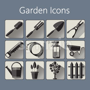 Gardening icons set over a silver blue background, digital vector image Stock Vector