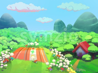 Picnic time on the hill near granny's house drawn in cartoon style. Stock Photo