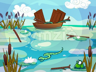 Boat on a lake raster illustration drawn in cartoon style. Stock Photo