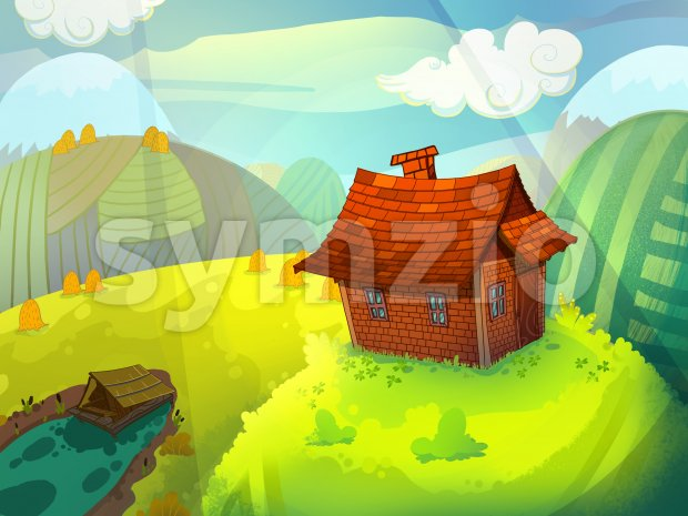 House on the hill made of bricks with a chimney. Sunny summer fairy tale background image. Cartoon raster illustration.