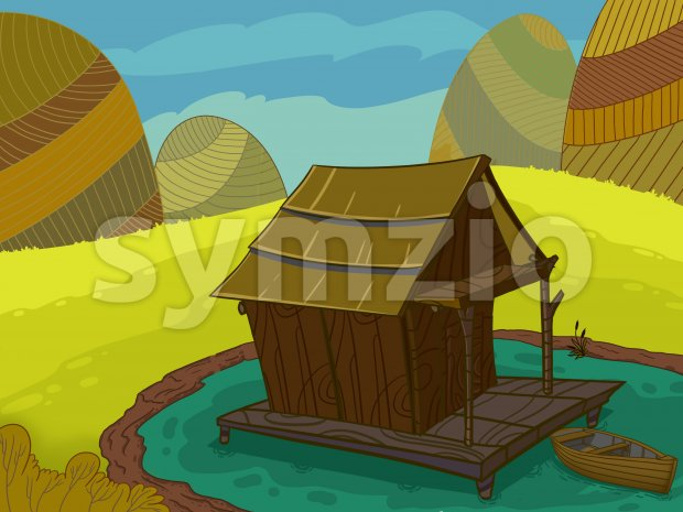 Wooden house on a lake raster illustration drawn in cartoon style. Stock Photo