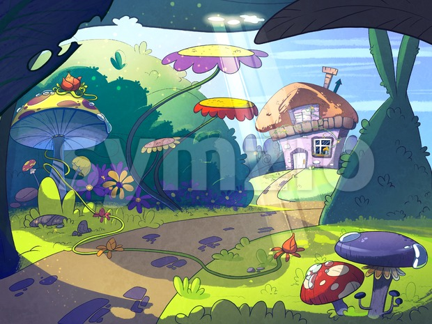 Fairy tale house in the middle of the forest surrounded by trees, mushrooms and flowers. Cartoon stylish raster illustration. Stock Photo
