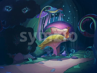 Colorful big magic mushrooms in the forest at night. Fairy tale cartoon stylish raster illustration. Stock Photo