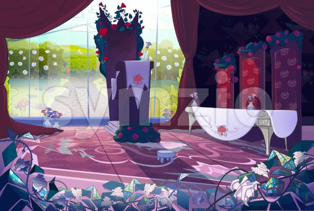 Queen's palace interior, court, jury. Fairy tale cartoon stylish raster illustration. Stock Photo