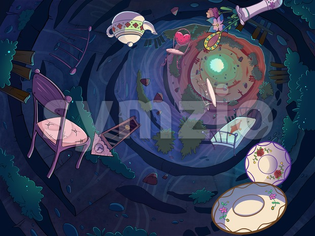 Falling in the rabbit hole with a bunch of objects. Cartoon stylish raster illustration. Stock Photo