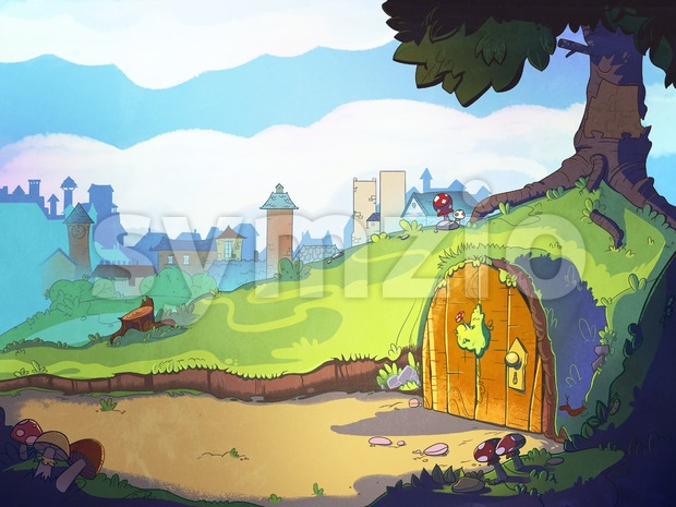 Rabbit's home hole under the tree. Fairy tale cartoon stylish raster illustration. Stock Photo