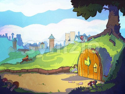Rabbit's home hole under the tree. Fairy tale cartoon stylish raster illustration. Stock Photo