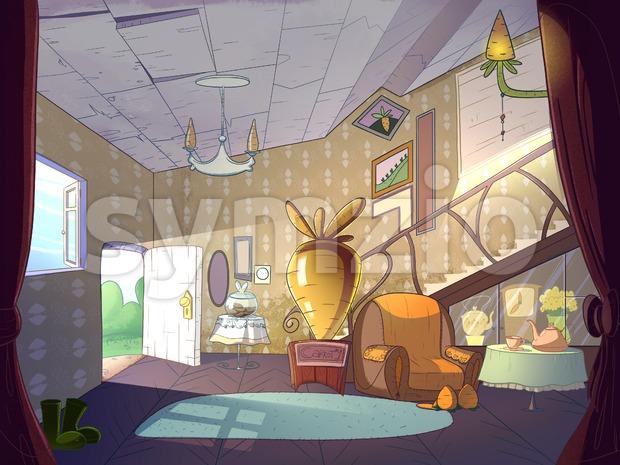 Rabbit house, living room interior. Fairy tale cartoon stylish raster illustration.