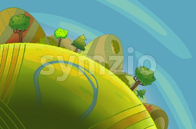 Round green hills with trees and a river. Cartoon stylish background raster illustration. Stock Photo