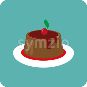 Candy card with a big chocolate cream cake, a red cherry with green leaf on top, over a green background. Digital vector image. Stock Vector
