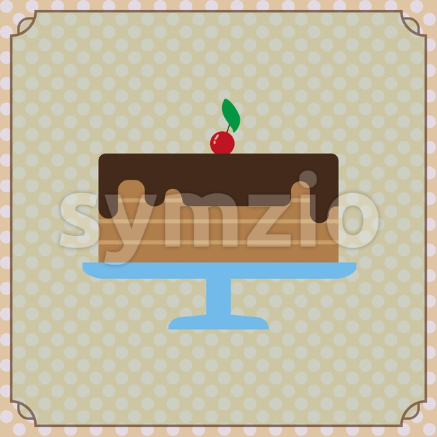 Candy card with a big chocolate cream cake, a red cherry with green leaf on top, frames and yellow dots. Digital vector image. Stock Vector