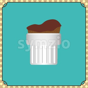 Candy card with a chocolate cream cake on a green background, frames and yellow dots. Digital vector image. Stock Vector