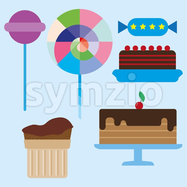 Sweets card with chocolate cream cakes and colored candies, over a blue background. Digital vector image. Stock Vector