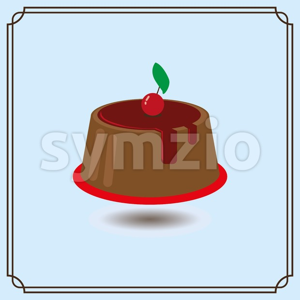 Candy card with a big chocolate cream cake, a red cherry with green leaf on top, over a blue background with frames. Digital vector image. Stock Vector