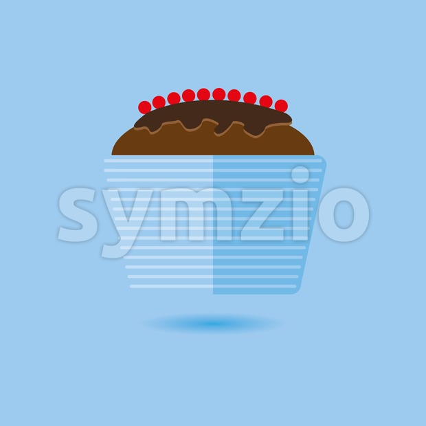 Candy card with a big chocolate cream cake with red berries, over a blue background with shadow. Digital vector image. Stock Vector