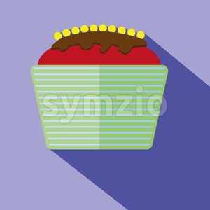 Candy card with a big chocolate cream cake with yellow berries, over a purple background with shadow. Digital vector image. Stock Vector
